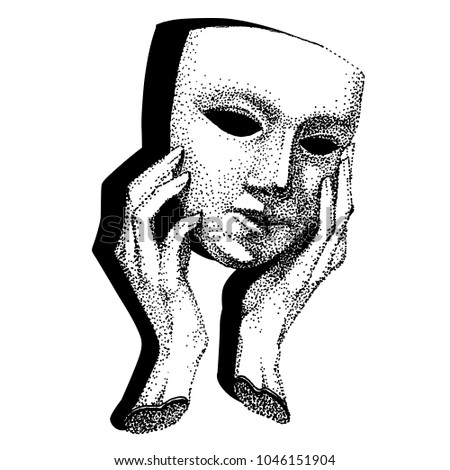 Mask in hands. Theater tattoo vector. Hypocrite  tattoo. Actor  tattoo. Black and white template for tattoo.