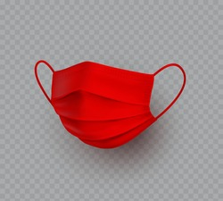 Mask isolated on transparent background. Vector red doctor, medical, surgical or safety breathing protection. 3d virus, dust or air pollution face cover element