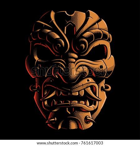 mask of samurai vector