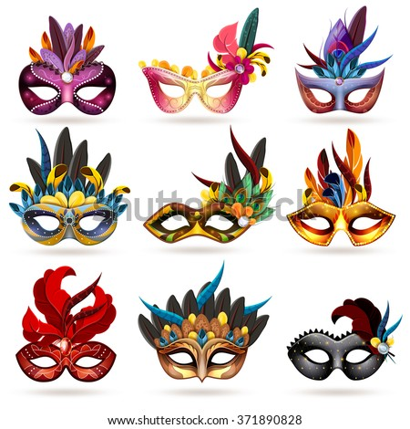 mask realistic icons set with