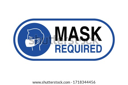 Mask required warning prevention sign - human profile silhouette with face mask in rounded rectangular frame - isolated vector information picture