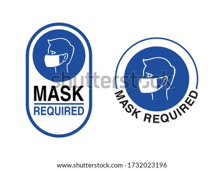Mask required warning prevention sign - human profile silhouette with face mask in rounded rectangular frame - isolated vector information picture in 2 variations