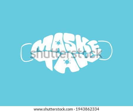 mask wear typography work. Turkish: Maske tak. Stok fotoğraf ©