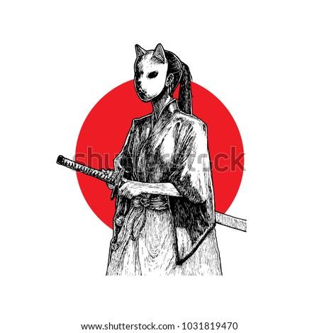 masked samurai girl hand drawn
