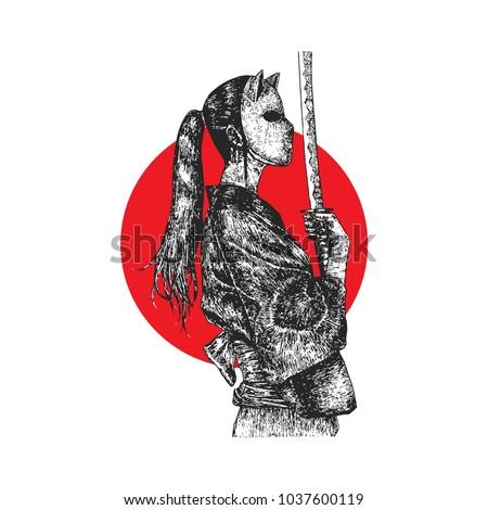 masked samurai girl  hatching