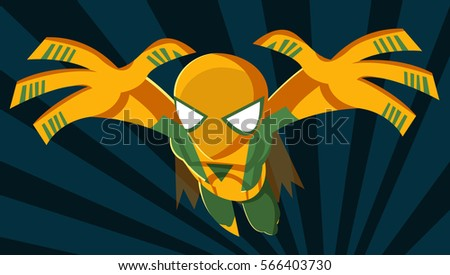 masked superhero jumping