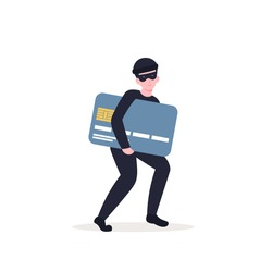 Masked thief steals a credit card, personal data. Flat vector cartoon illustration isolated white background.