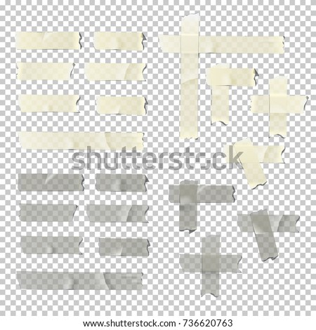 Masking and adhesive tape pieces isolated on transparent background. Vector torn masking and adhesive tape parts.