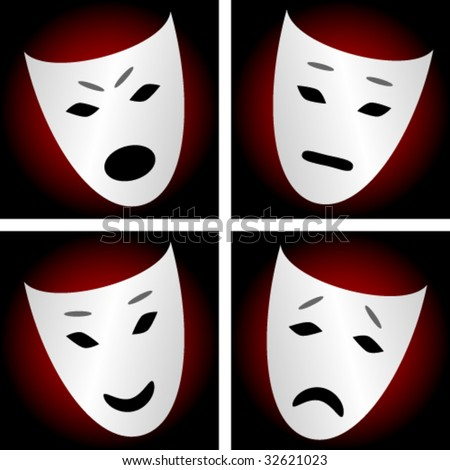 Masks, depicting emotions: angry, sad, neutral, happy