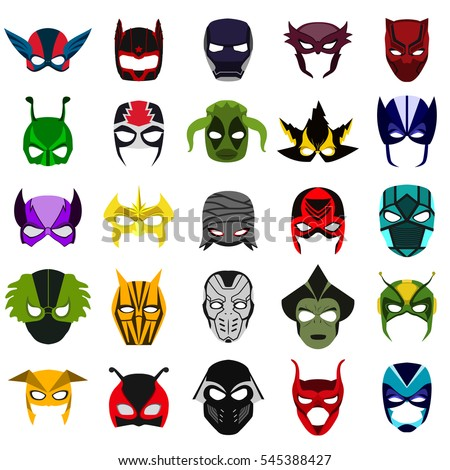 masks of superheroes flat icon