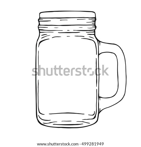Mason drinking jar. Hand drawn illustration isolated on white background.