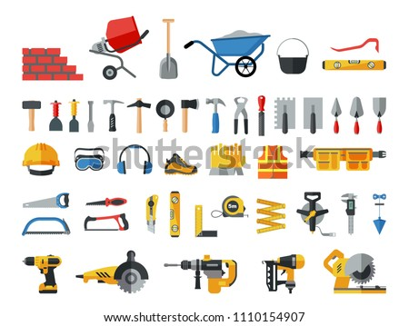 Mason hand tools. Big flat icon collection of hand and power electric tools for construction workers. Set of master tools used for  wood, metal, plastic, stone, concrete and other materials.
