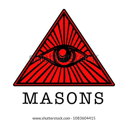 Mason. Illuminati. Masonic eye. Icon, logo, hand drawn
