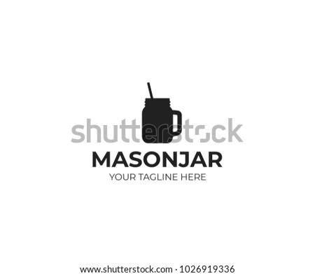 Mason jar mug with straw logo template. Canning jar vector design. Glass mason jar with handle illustration