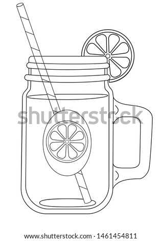 Mason Jar. Summer drinks for a healthy lifestyle - juice, fresh, craft drinks and fruit water. A bottle with a drink and a straw for drinking, a label and a slice of lemon. Eco drinks -vector picture.