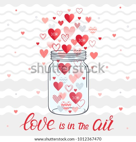 Mason jar with lettering,different hearts,hugs and kisses.Romantic heart illustration perfect for design greetings, prints, flyers,cards,holiday invitations and more.Vector Valentines Day card.