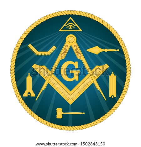 Mason symbol. Freemasonry and secret societie emblem sign.