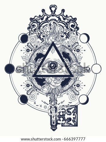 Masonic eye and key tattoo symbols. Freemason and spiritual symbols. Alchemy, medieval religion, occultism, spirituality and esoteric tattoo. Magic eye, roses and steering wheel t-shirt design