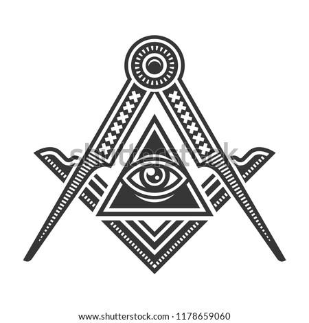 Masonic Freemasonry Emblem Icon Logo. Vector Stock photo ©