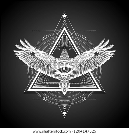 Masonic symbol.All seeing eye with flying bird.Esoteric print t shirt and tattoo art.Mystical symbols and bird. Alchemy, occultism,spirituality, coloring book. Hand drawn illustration.New world order