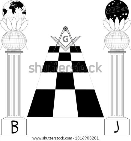 masonic symbol   b j pillars