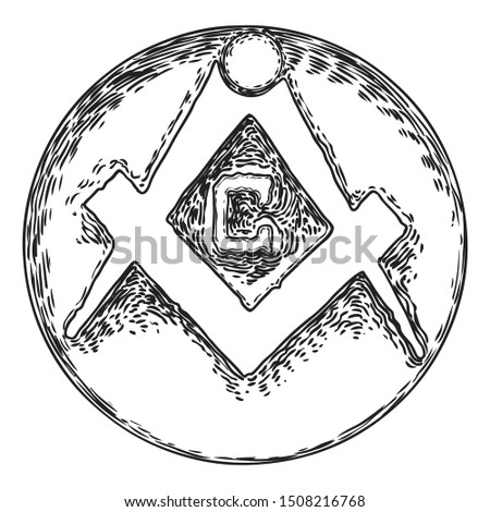 Masonic symbol, mysteries of mankind knowledge , medieval occultism, spirituality and esoteric tattoo art and t-shirt design. Vector.