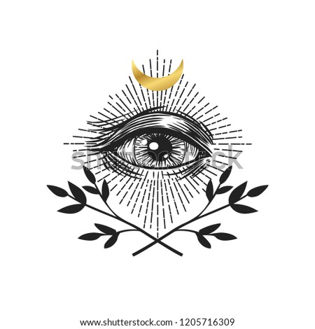 Masonic symbol. Seeing eye. Vector illustration