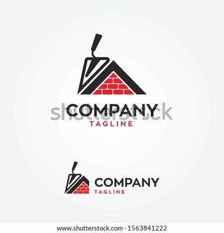 masonry house with trowel logo vector illustration ストックフォト ©