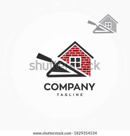 Masonry tool with brick layered construction house logo symbol vector graphic illustration template ストックフォト ©