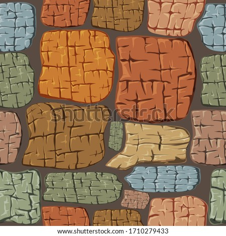 Masonry walls made of large stones. Strong reliable wall, high and durable. Stone to stone, the gap is poured with concrete mortar, very durable and solid. Vector geometric seamless pattern.