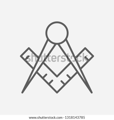 Masons square icon line symbol. Isolated vector illustration of  icon sign concept for your web site mobile app logo UI design.