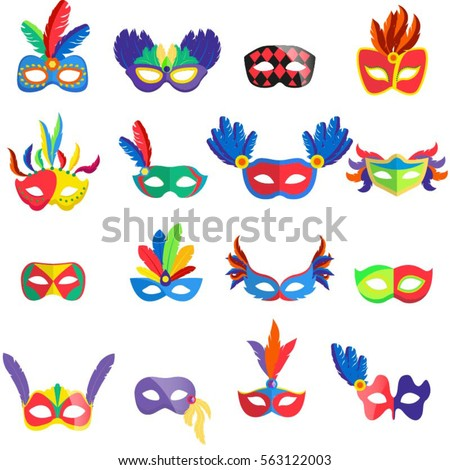 masquerade colorful masks set