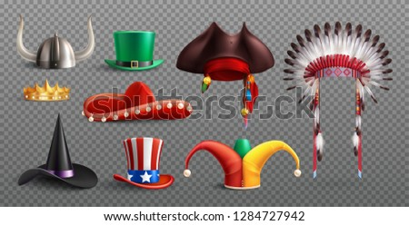Masquerade hats set on transparent background with traditional national and holiday elements isolated vector illustration