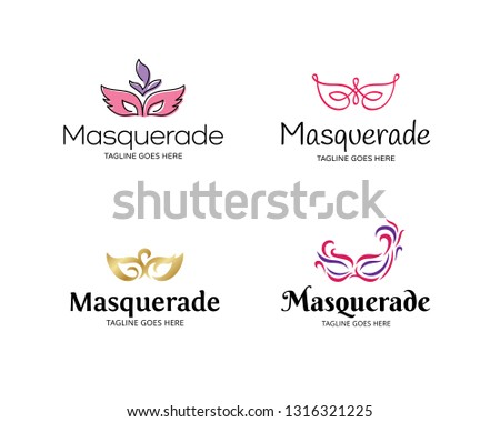 Masquerade logo design template set. Vector color festive concept with mask. Mardi Gras icon symbol collection. Carnival masque party illustration background
