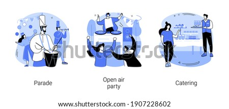 Mass event abstract concept vector illustration set. Parade and open air party, catering, fresh restaurant cooked food, summer music festival, live performance, holiday celebration abstract metaphor.