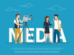 Mass media announcement concept illustration of live news tv broadcasting with reporter. Flat vector illustration of big letters media and female reporter taking the interview with guy standing near
