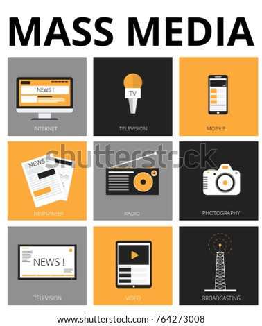 Mass media flat icons. Tv, newspaper,  internet, radio, broadcasting, camera, video, photography. Vector Illustration