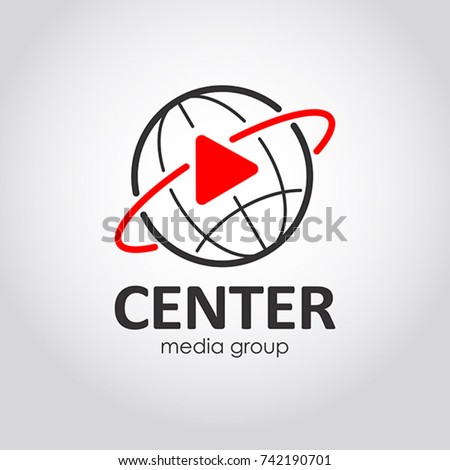 Mass media icon. Media company flat style logo. Concept of journalism, live news, interview and breaking news