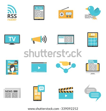 Royalty Free Stock Photos and Images: Mass media icons set with