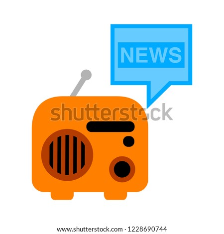 Mass media journalism news concept flat business icon. profession live radio for design web elements