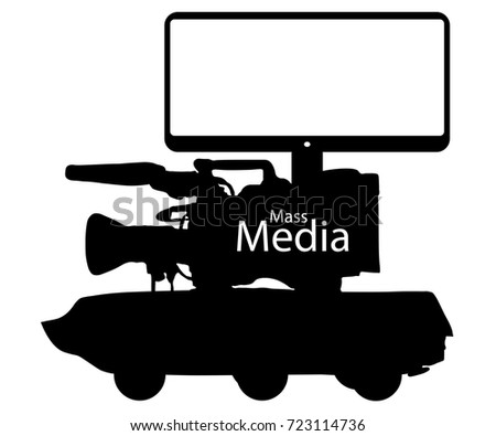 Mass media news fake, information war. Digital fraud technologies. Camera Tank Tv