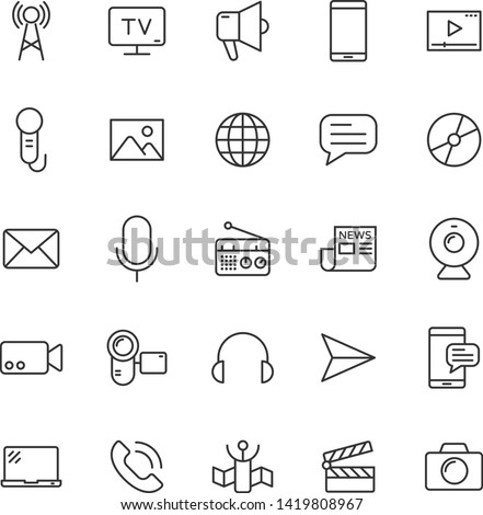 mass media outline vector icons large set isolated on white background. media business concept. media line icons for web and ui design