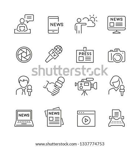 Mass media related icons: thin vector icon set, black and white kit