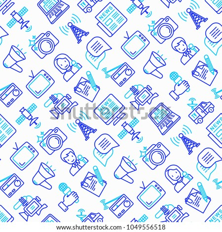 Mass media seamless pattern with thin line icons: journalist, newspaper, article, blog, report, radio, internet, interview, video, photo. Modern vector illustration.