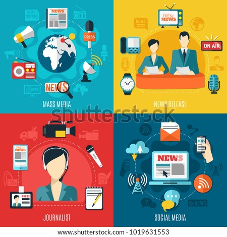 Mass media 2x2 design concept with news release social media journalist square compositions flat vector illustration