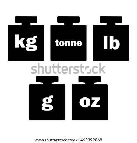 Mass units, weight kilogram, tonne, pound, gram, oz icon vector isolated.