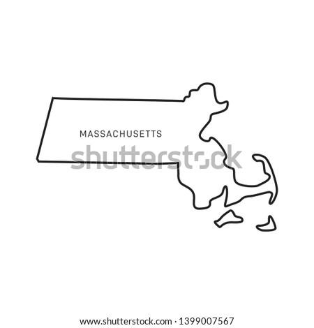 Massachusetts Map Outline Vector Design Template. Editable Stroke Stock fotó ©