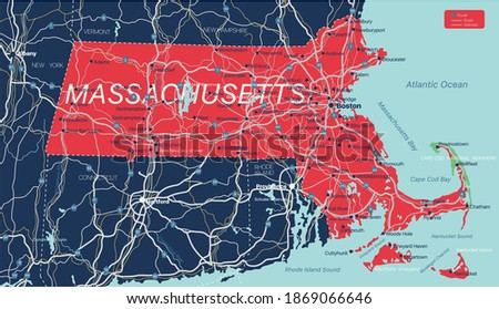 Massachusetts state detailed editable map with cities and towns, geographic sites, roads, railways, interstates and U.S. highways. Vector EPS-10 file, trending color scheme Stock fotó ©