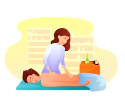 Massage flat vector illustration. Spa salon, club procedure. Massage therapy, aromatherapy, back diseases treatment. Relax, pain relief, rehabilitation. Female masseur with patient cartoon character