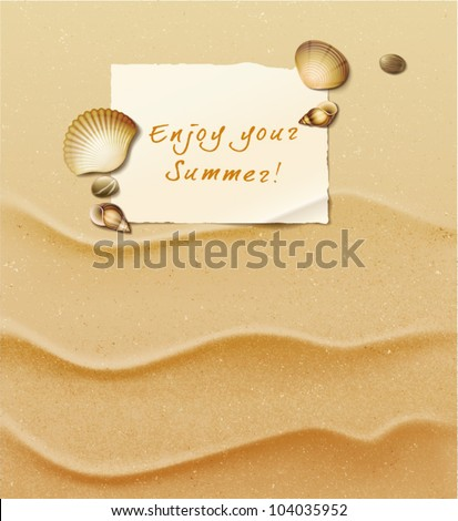 Massage on white paper and seashells over a sand beach. Vector Illustration